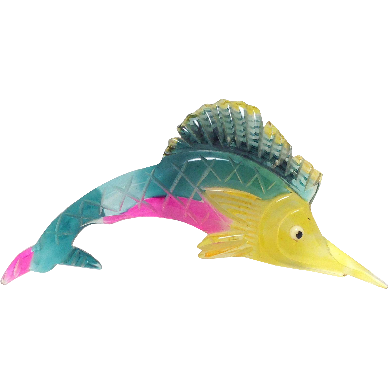Vintage 1940s Huge multi colored Lucite Swordfish Marlin fish Pin