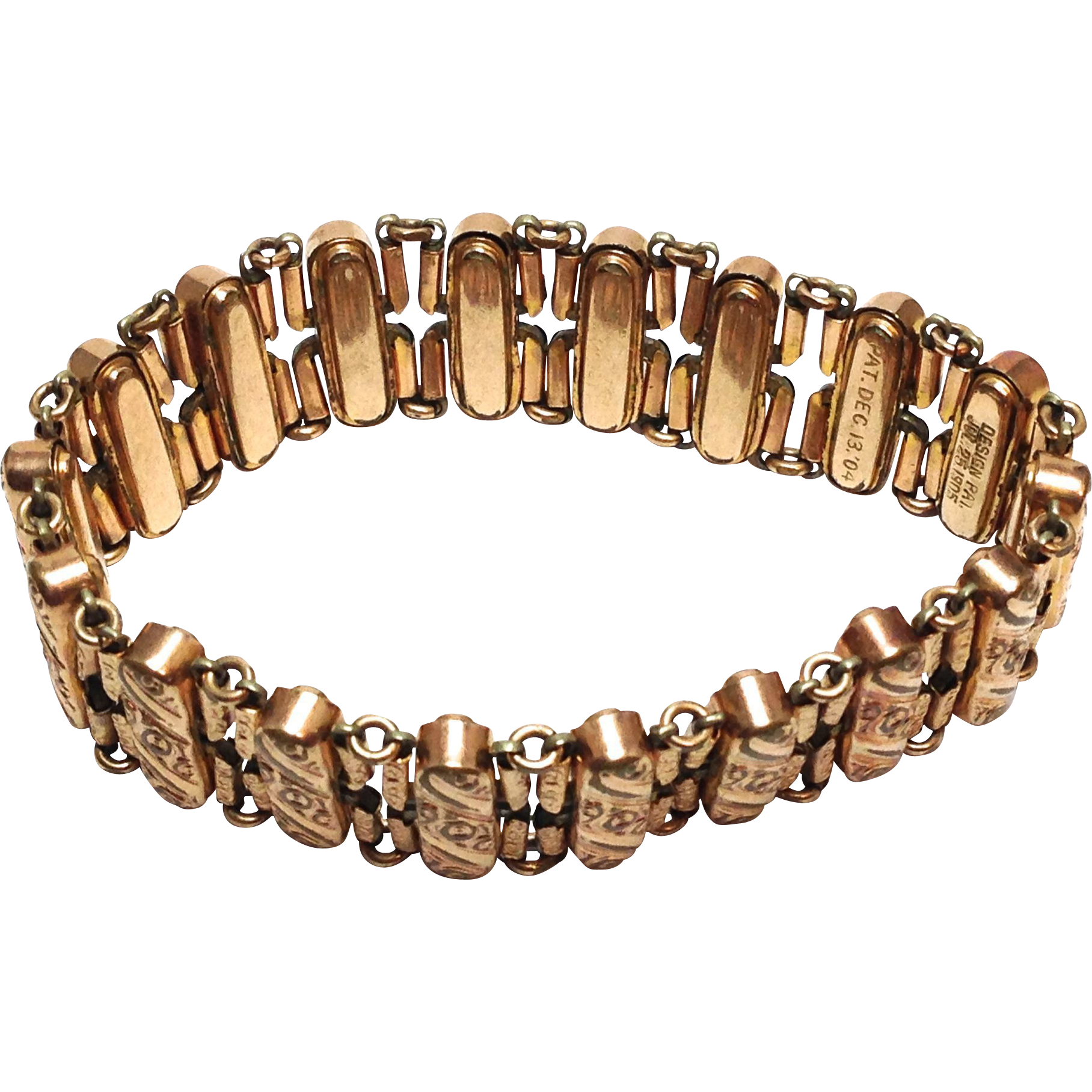 Beautiful Antique Gold Filled Accordian Signed bracelet