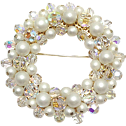 Vintage Signed Alice Caviness  faux Pearl and Crystal wreath brooch