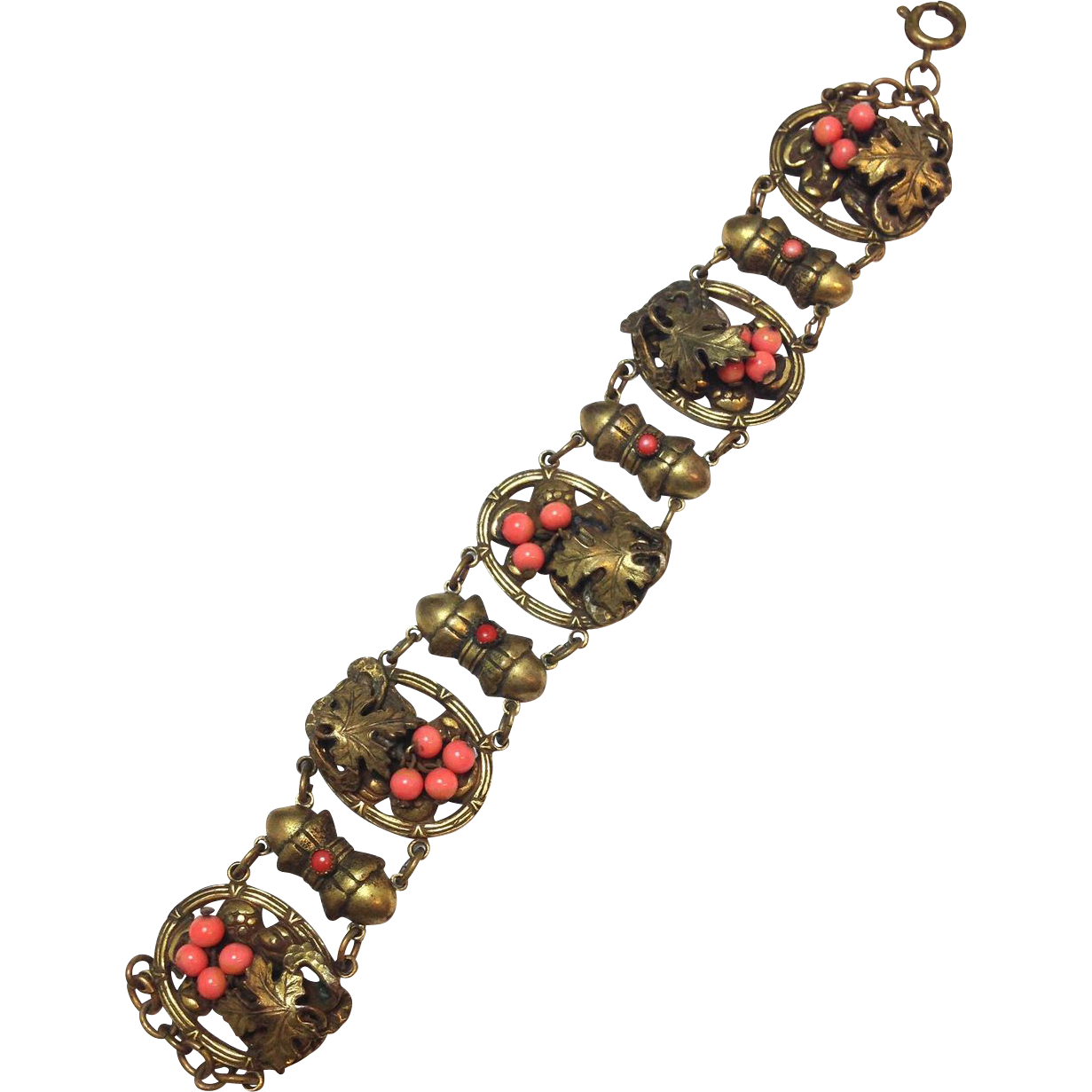 Antique Victorian gilt bracelet with Coral Glass Beads and Raise Relief with Grape Leaf Wine Motif