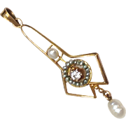 Antique 1910s 14k yellow gold blue and white seed pearl pendant with diamond
