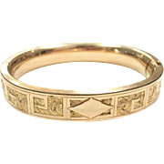 Antique Victorian 10k Gold Filled Engraved Bangle Bracelet by Rex Manufacturing Co. of Rhode Island