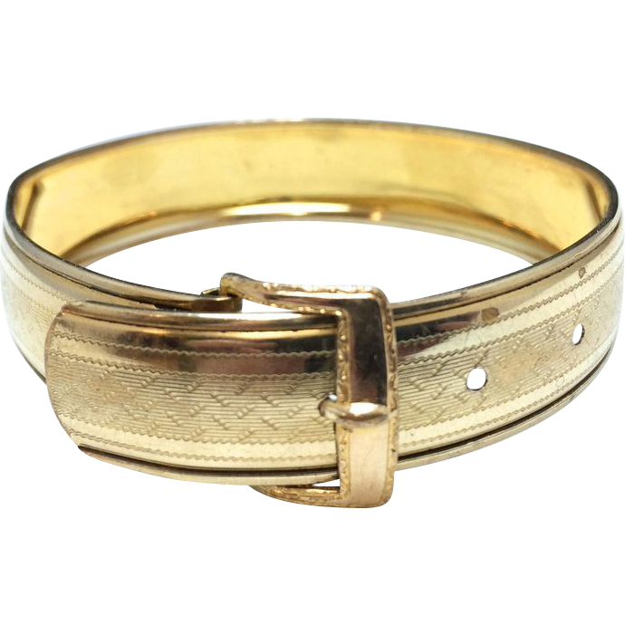 Vintage Hayward Adjustable Gold Filled Buckle Bangle