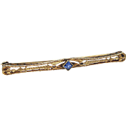 Antique 14k Solid Gold Filigree Bar Pin with single Blue Stone