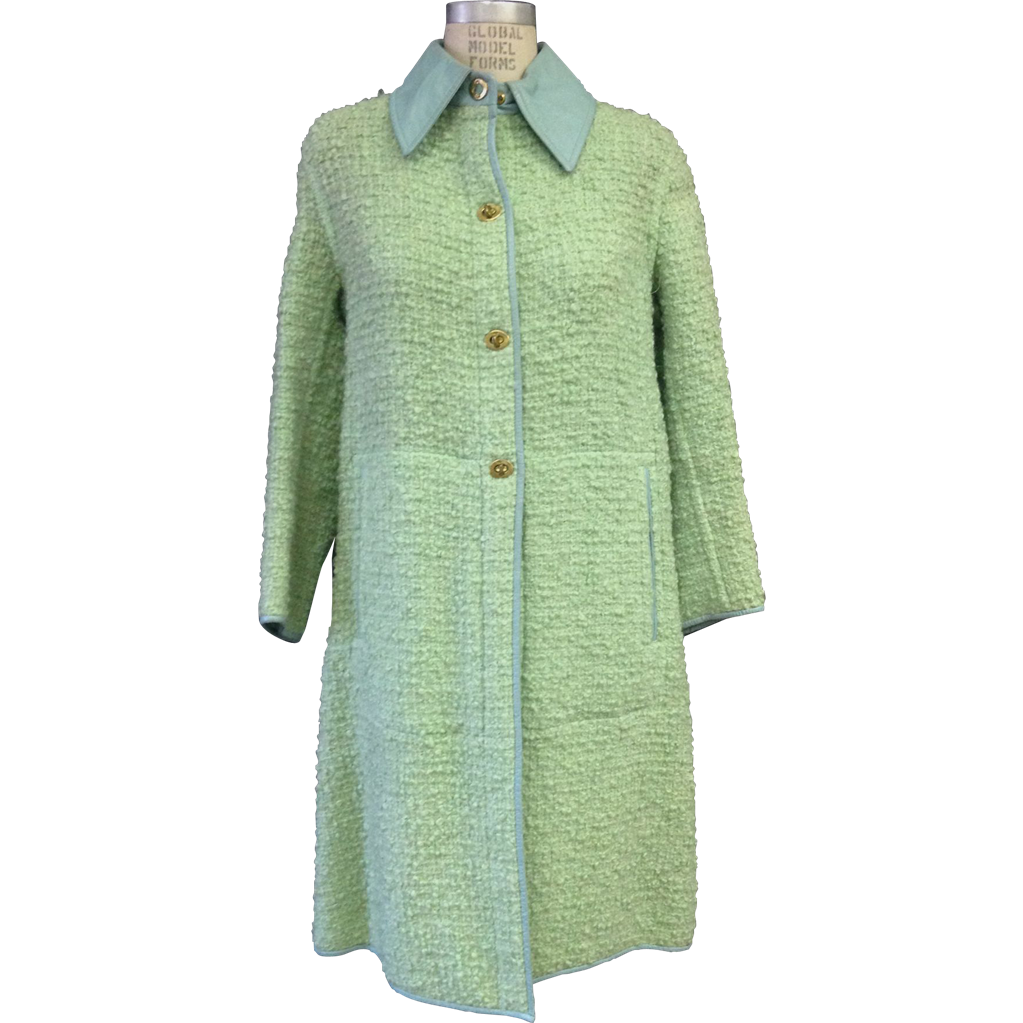 Vintage 1960s seafoam Green Bonnie Cashin boucle and leather coat with turn clasps