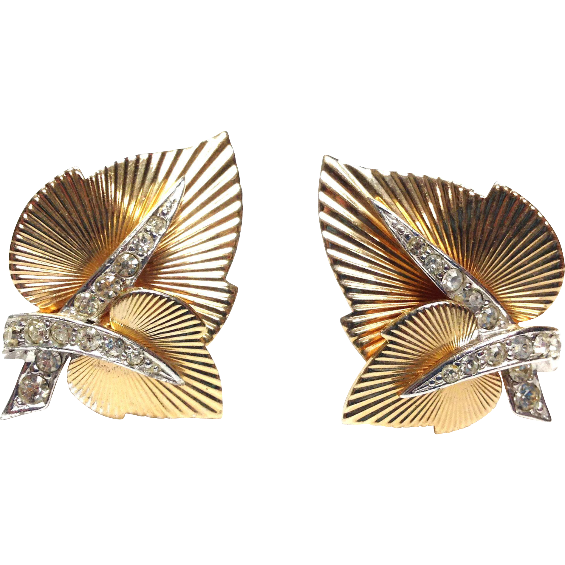Vintage 1950s signed Boucher numbered Gold tone and Silvertone rhinestone leaf earrings