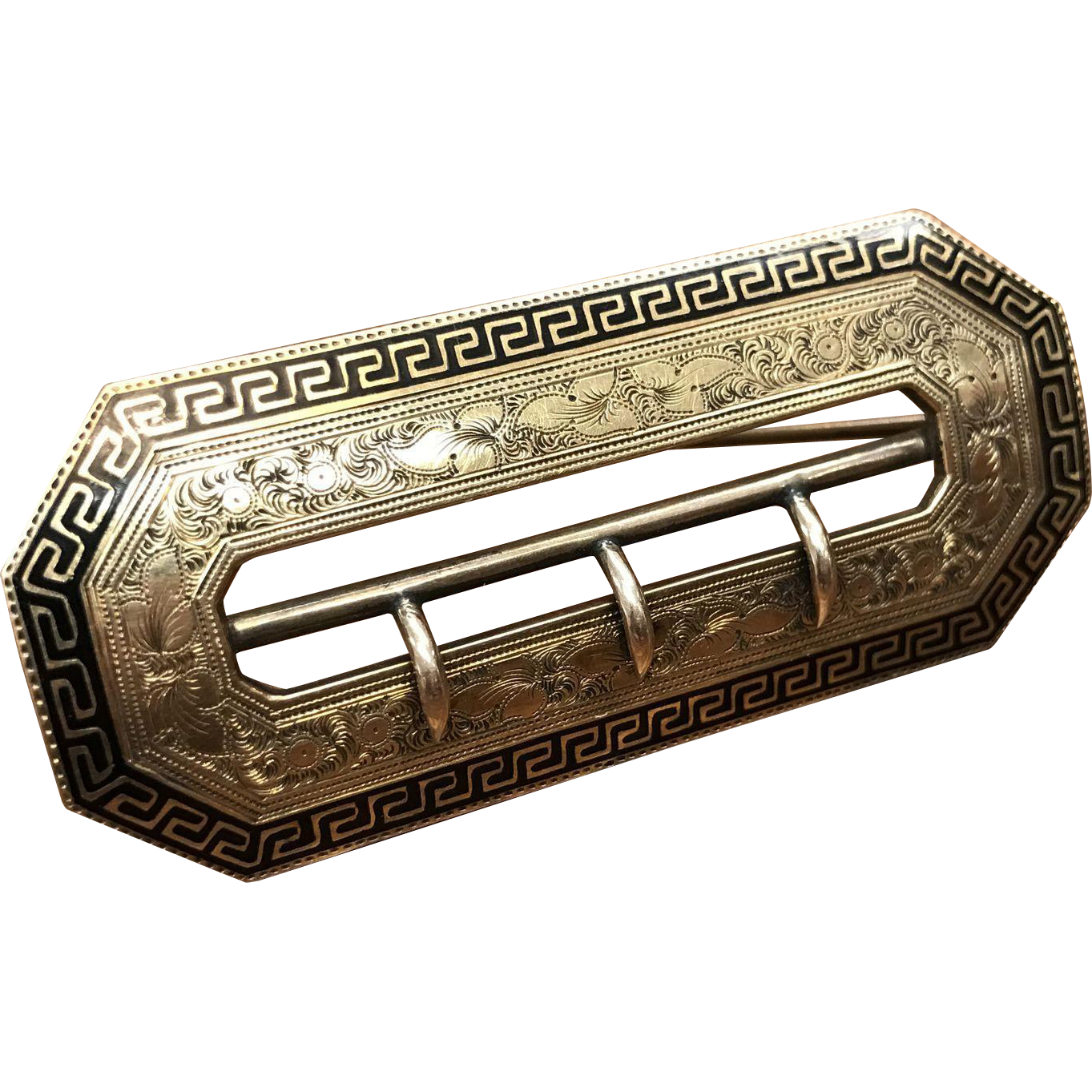 Antique Victorian belt buckle sash brooch with black enamel and engraving