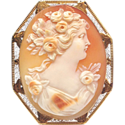14k Solid Yellow Gold real carved Shell Cameo pin or pendant