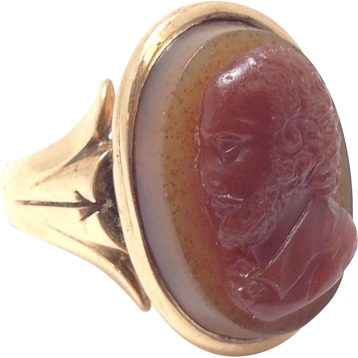 Exquisite large Victorian 10 karat yellow gold ring with an usual bearded bald man Plastic Cameo