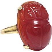 Vintage Allsopp brothers 10 karat yellow gold scarab beetle carnelian ring