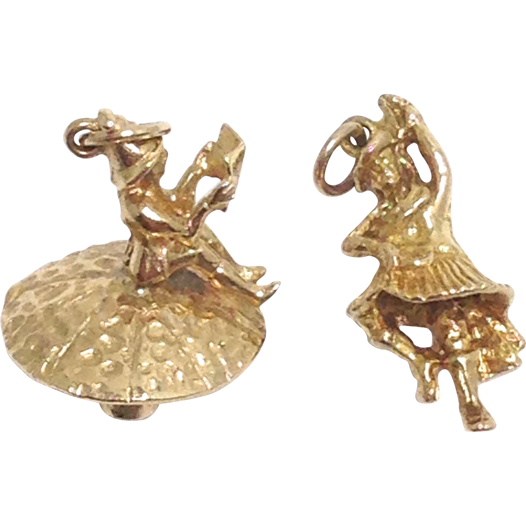 Vintage 9K  9c yellow gold gnome on a mushroom and kilted dancer charms signed