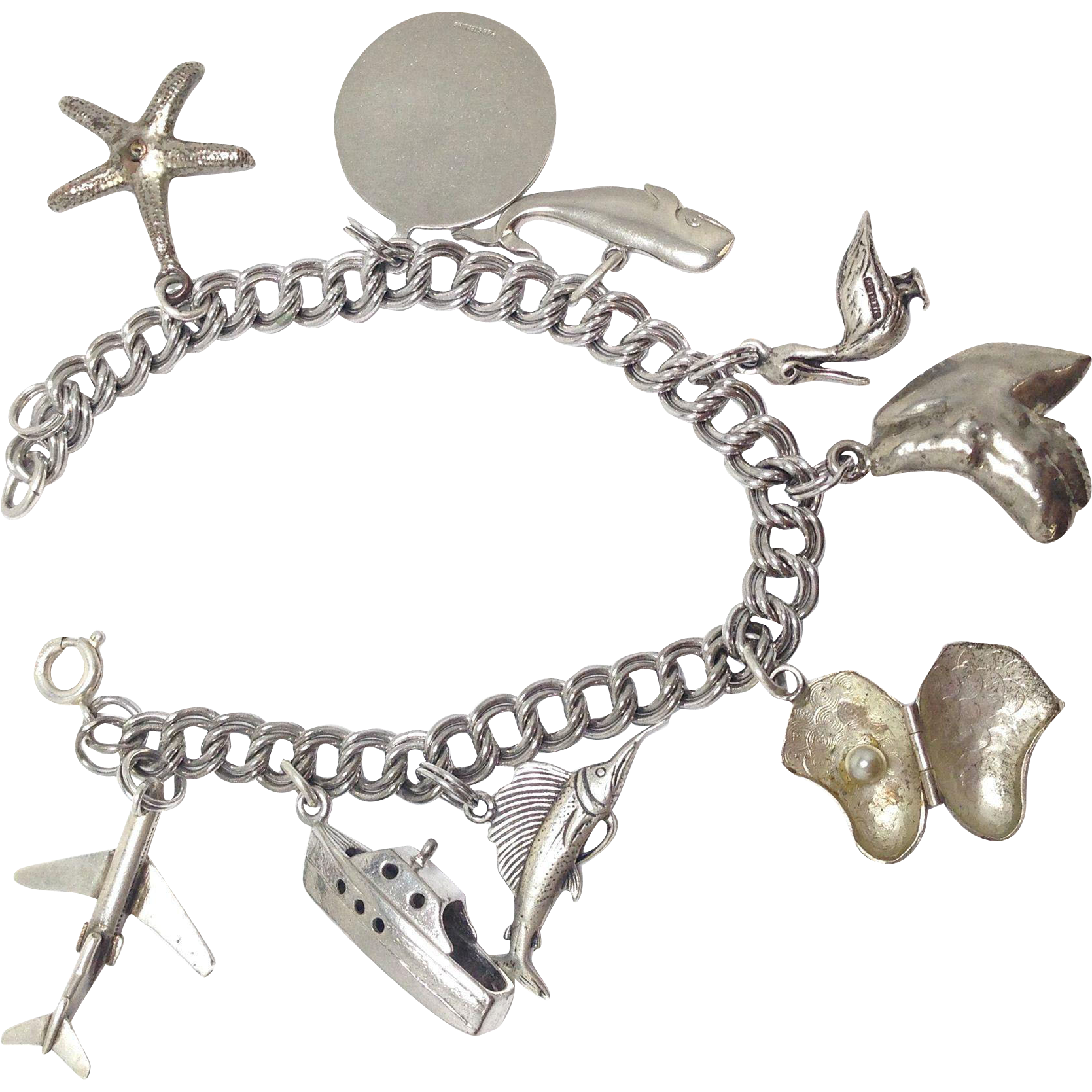 Vintage Whimsical sterling silver nautical sea vacation 9 charm bracelet