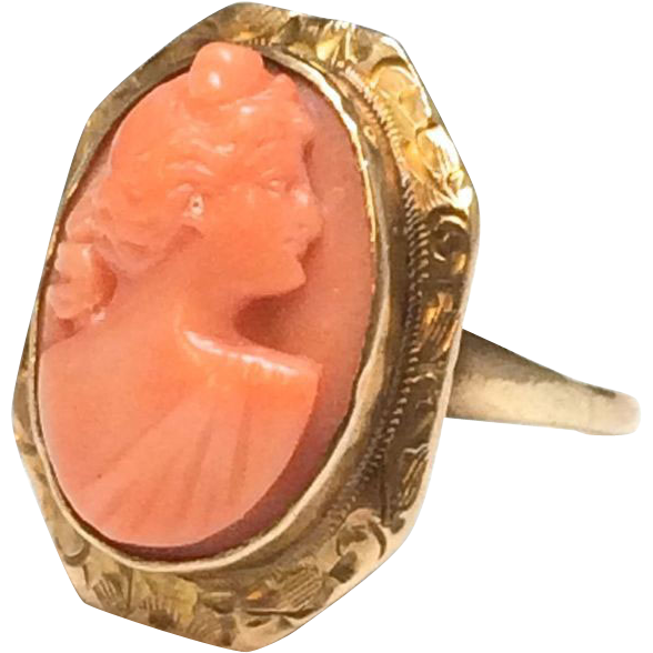 Antique Victorian 10k Yellow Gold Coral carved Cameo ring