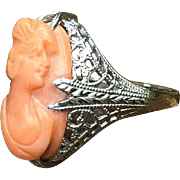 Antique Art Deco Ostby Barton 14K white gold filigree Ring with coral carved cameo