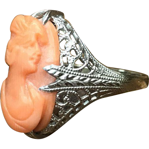 Antique Art Deco Ostby Barton 14k white gold filigree ring with carved orange coral cameo