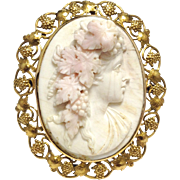 Antique Victorian very large angel skin coral cameo of Ariadne wife of Bacchus the god of wine in 14K signed yellow gold