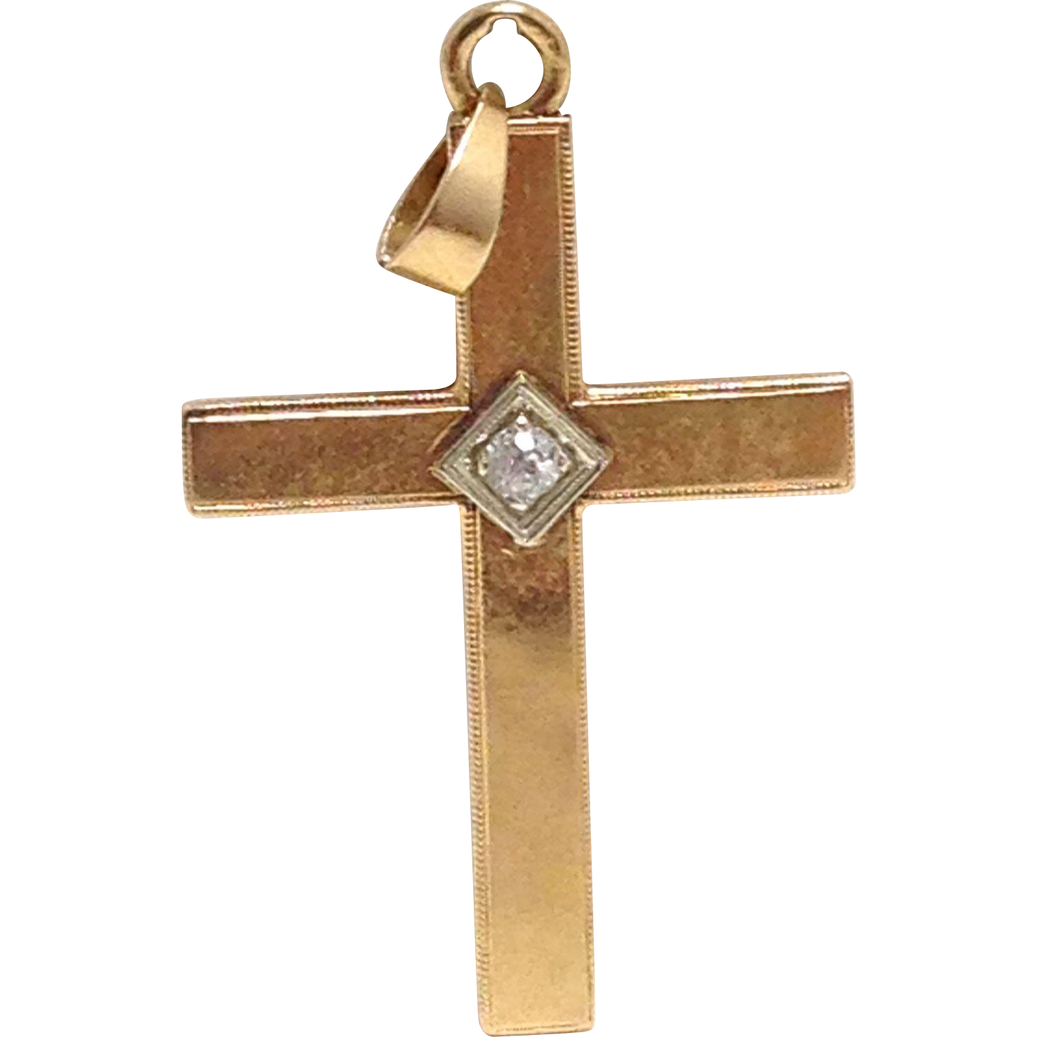 Vintage signed solid 14K yellow gold unisex cross pendant with diamond 4 grams