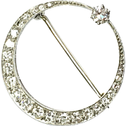 Vintage 18K White Gold Crescent Moon pin with over 1.25 carats of diamonds, appraisal included
