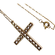 Vintage 18K Yellow Gold Pearl cross pendant with gold filled chain