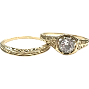 Vintage 1920s 14K Yellow Gold Diamond and Filigree Engagement Ring and Filigree Wedding Band