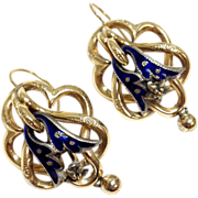 Antique 14K yellow gold blue enamel sterling silver repoussé pierced earrings