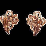 Vintage solid 14k Rose Gold and Diamond Flower Pierced Earrings