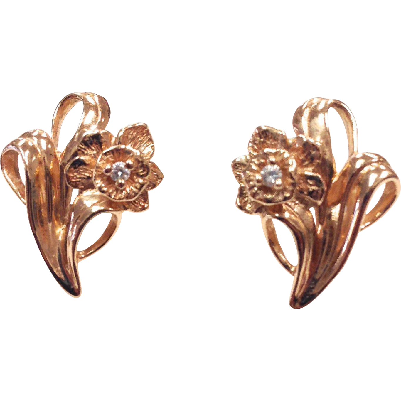 Vintage solid 14k Rose Gold and Diamond Flower Pierced Earrings