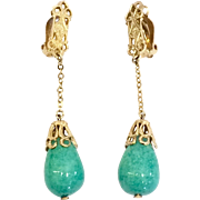 Vintage Lewis Siegel 1960s Gold Tone Dangle Drop Earrings with Green Peking Glass