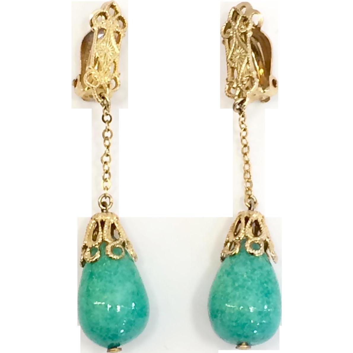 Vintage Lewis Siegel 1960s Gold Tone Dangle Drop Earrings with Green Peking Glass