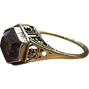 Elegant Edwardian Antique 14k Gold Filigree Hexagon Purple stone Solitaire ring