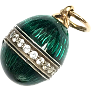 Antique 14 K  yellow gold and green Guilloche enamel Russian egg charm