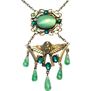 Antique 1920s Egyptian revival glass and enamel necklace