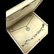 Vintage 1940s SOB&co Designer Blue Guilloche Rose enamel gold fill locket necklace with heart locket bracelet in the original box