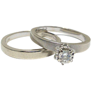 Vintage 14k white gold and diamond solitaire engagement ring and matching band