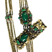1940s Etruscan Revival necklace with green glass stones and matching dress clip
