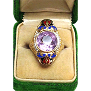 Antique 14K filagree amethyst ring with blue and red enamel seed pearls