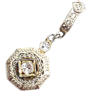 Antique Art Deco 14K white gold diamond necklace pendant