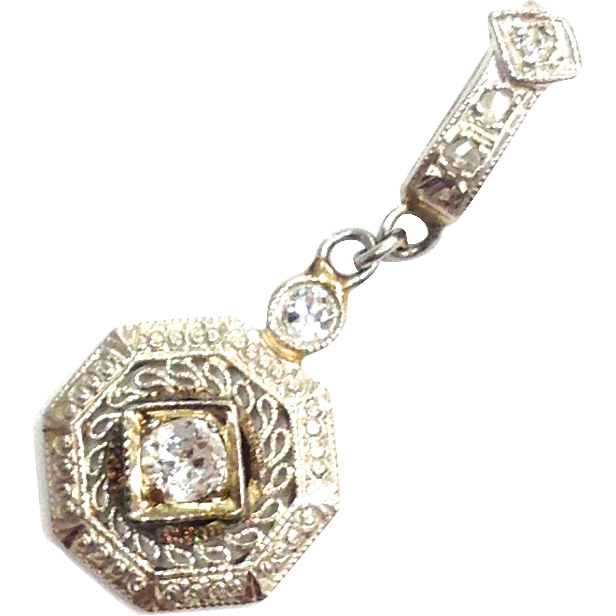Antique Art Deco 14K white gold diamond necklace pendant