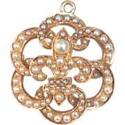 Antique 14K yellow gold Fleur de Lis pearl watch pin or pendant