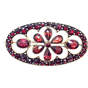 Antique Bohemian Garnet cut out Brooch