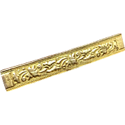 Antique Victorian mourning wide 14k yellow gold bar pin 6.2 g with initials and raised relief flowers