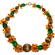 Vintage 1940s lamp work amber and emerald green glass gilt beaded necklace