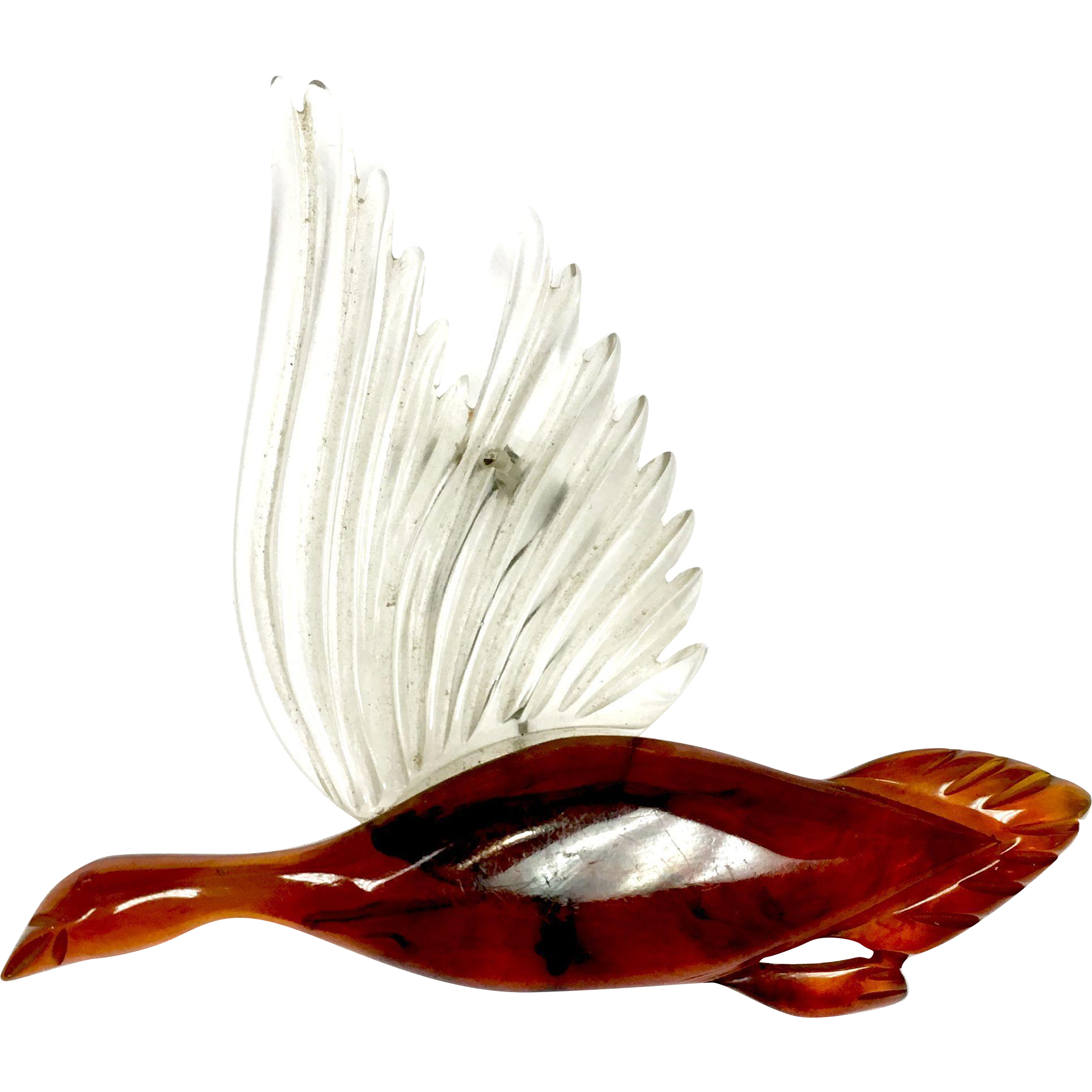 Vintage 1940s large clear Lucite and tortoise shell carved flying Canadian goose pin
