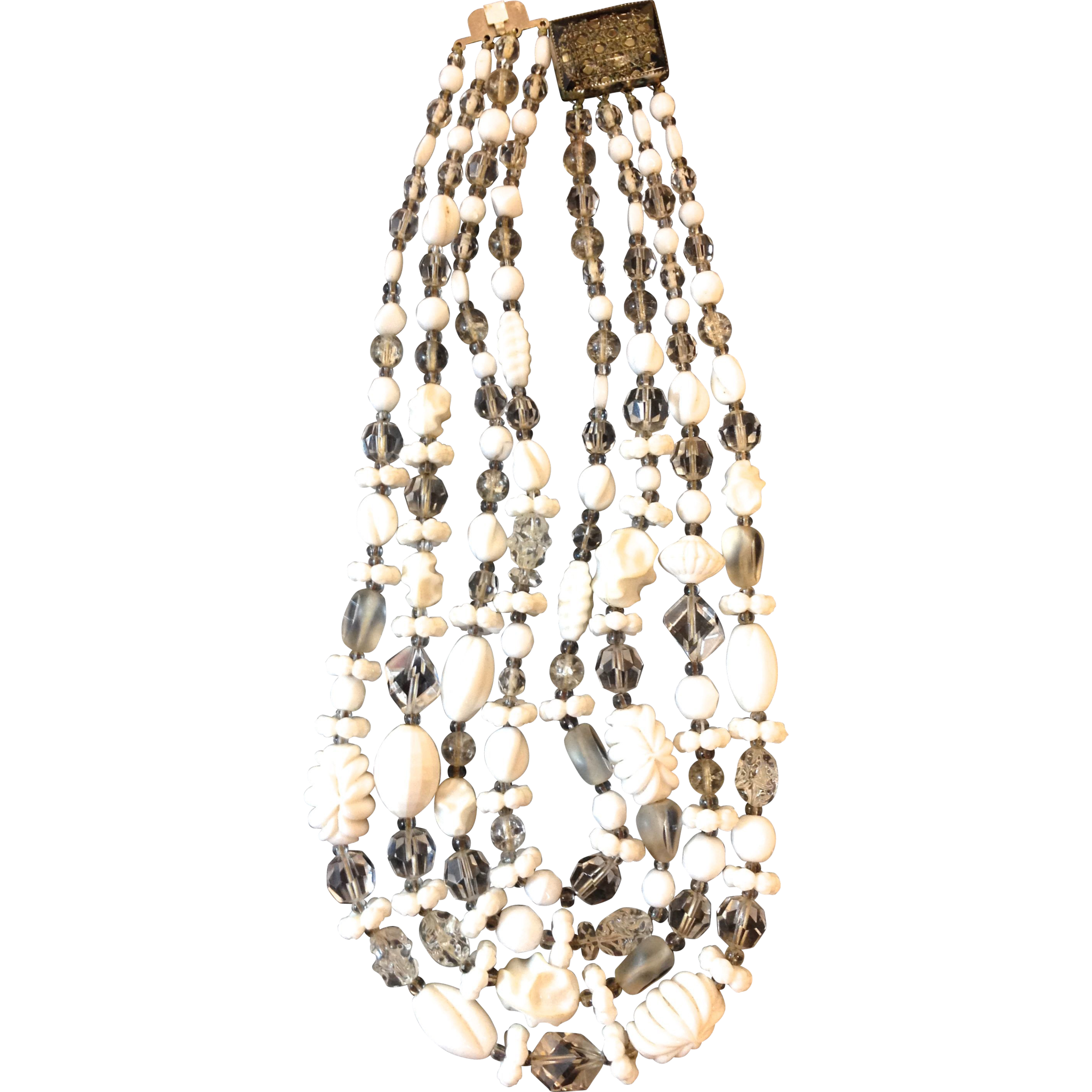 Vintage Hattie Carnegie Crystal and White statement necklace with 4 strands and great clasp