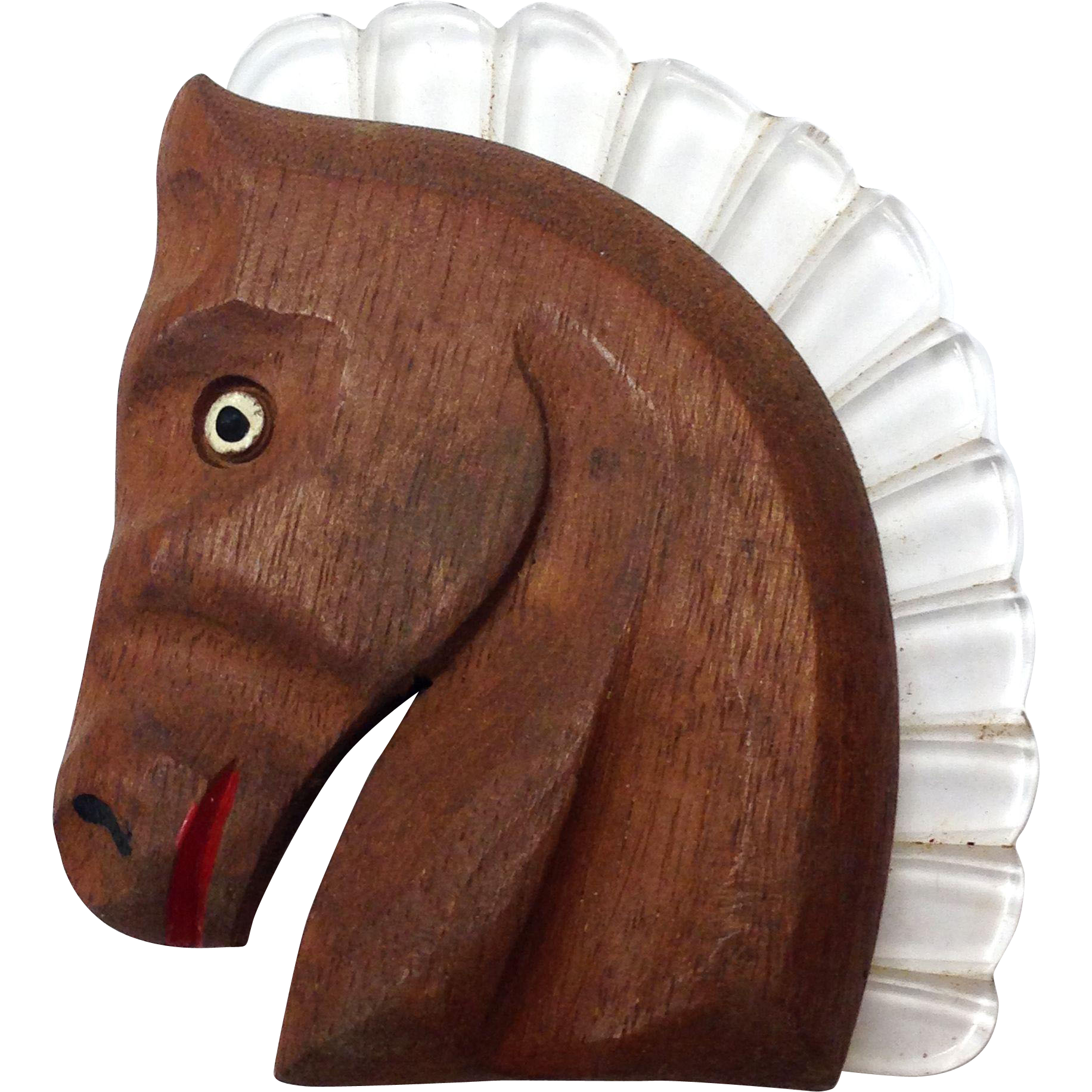 Vintage 1940s Large Carved Wood and Lucite Horse Head Brooch