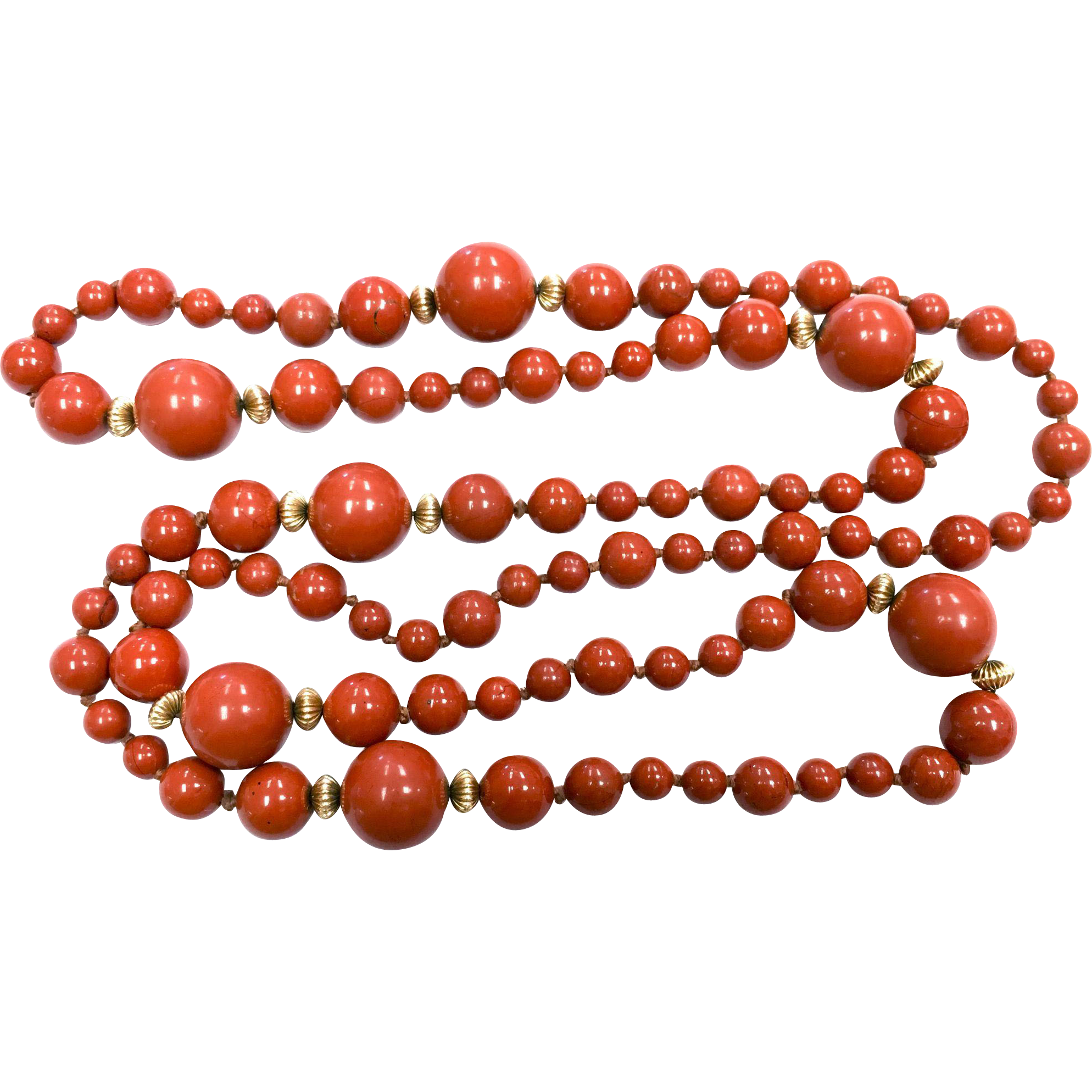 Vintage red jasper hand knotted long necklace with 14 K yellow gold pleated spacer beads