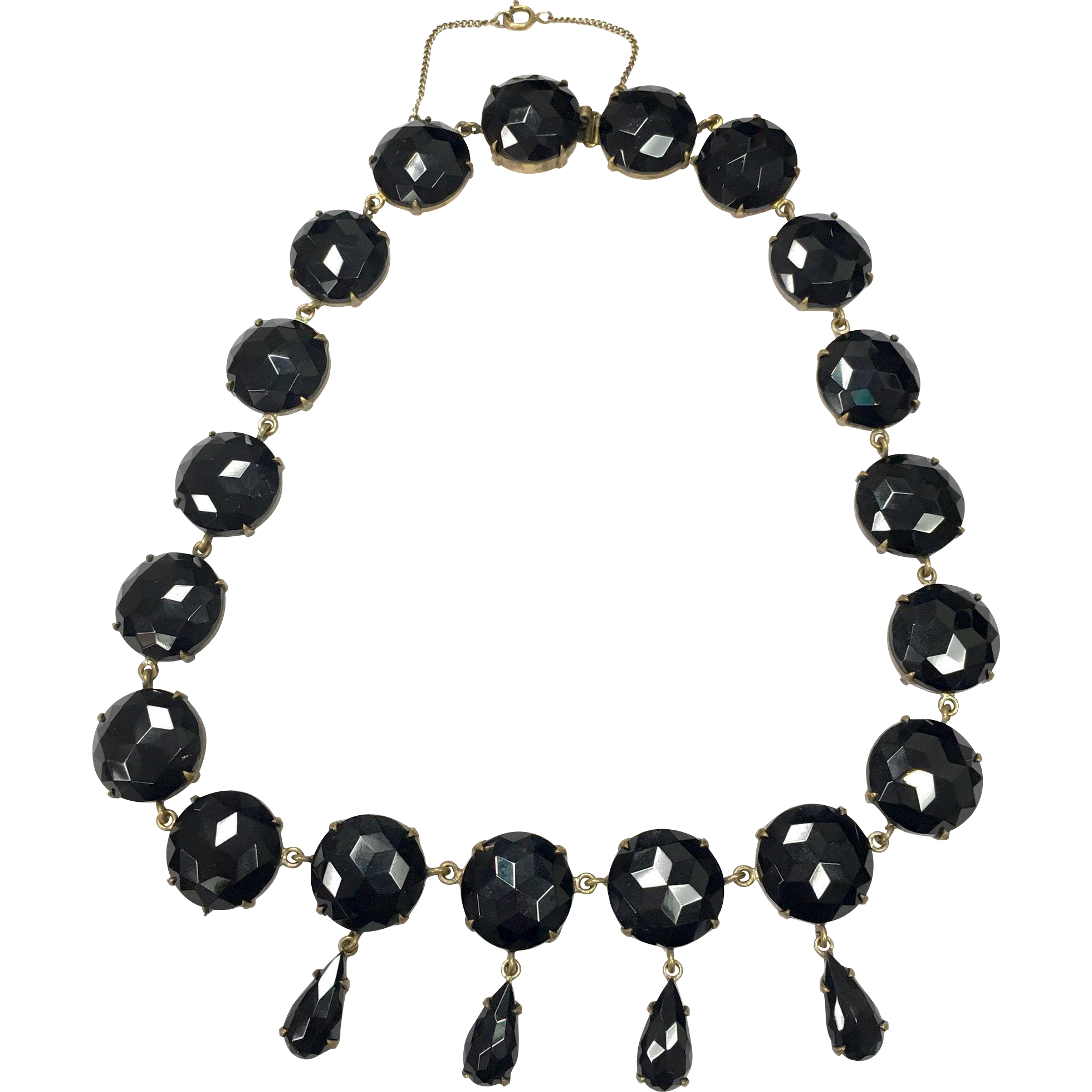 Vintage 1940s faceted black glass prong set necklace with dangles