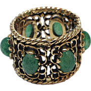 Vintage 14K Yellow Gold green Jade Cabochon cigar band wide ring