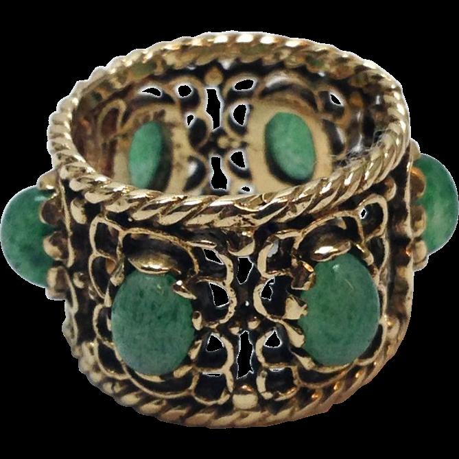 Vintage 14K Yellow Gold green Jade Cabochon cigar band wide ring