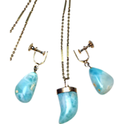 14k solid gold and Larimar stone necklace and screw back earrings